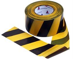 Оградительная лента желто черная Эконом ЛО-200/50 - фото 17053