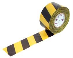 Оградительная лента желто черная Стандарт ЛО-100/75 - фото 17065