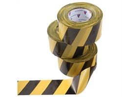 Оградительная лента желто черная Эконом ЛО-200/75 - фото 17083