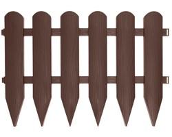 Садовое ограждение Штакетник коричневое 40 см * 2,4 м - фото 17477