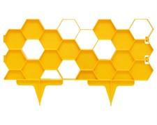 Садовое ограждение для клумб Соты желтое 20 см * 2,5 м