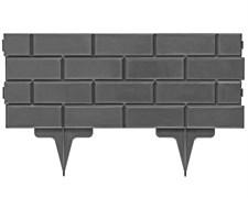Садовое ограждение для клумб Кирпич серое 19 см * 2,5 м